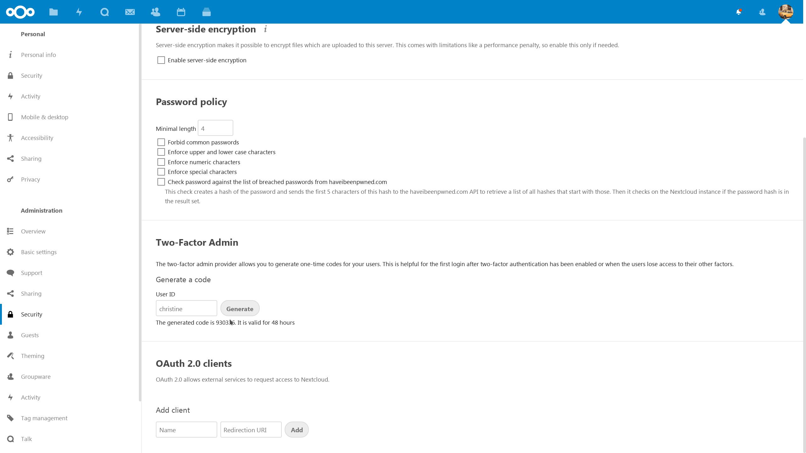One-time login token creation