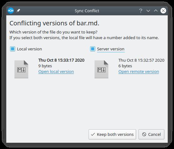 3.1 desktop client sync conflict dialog