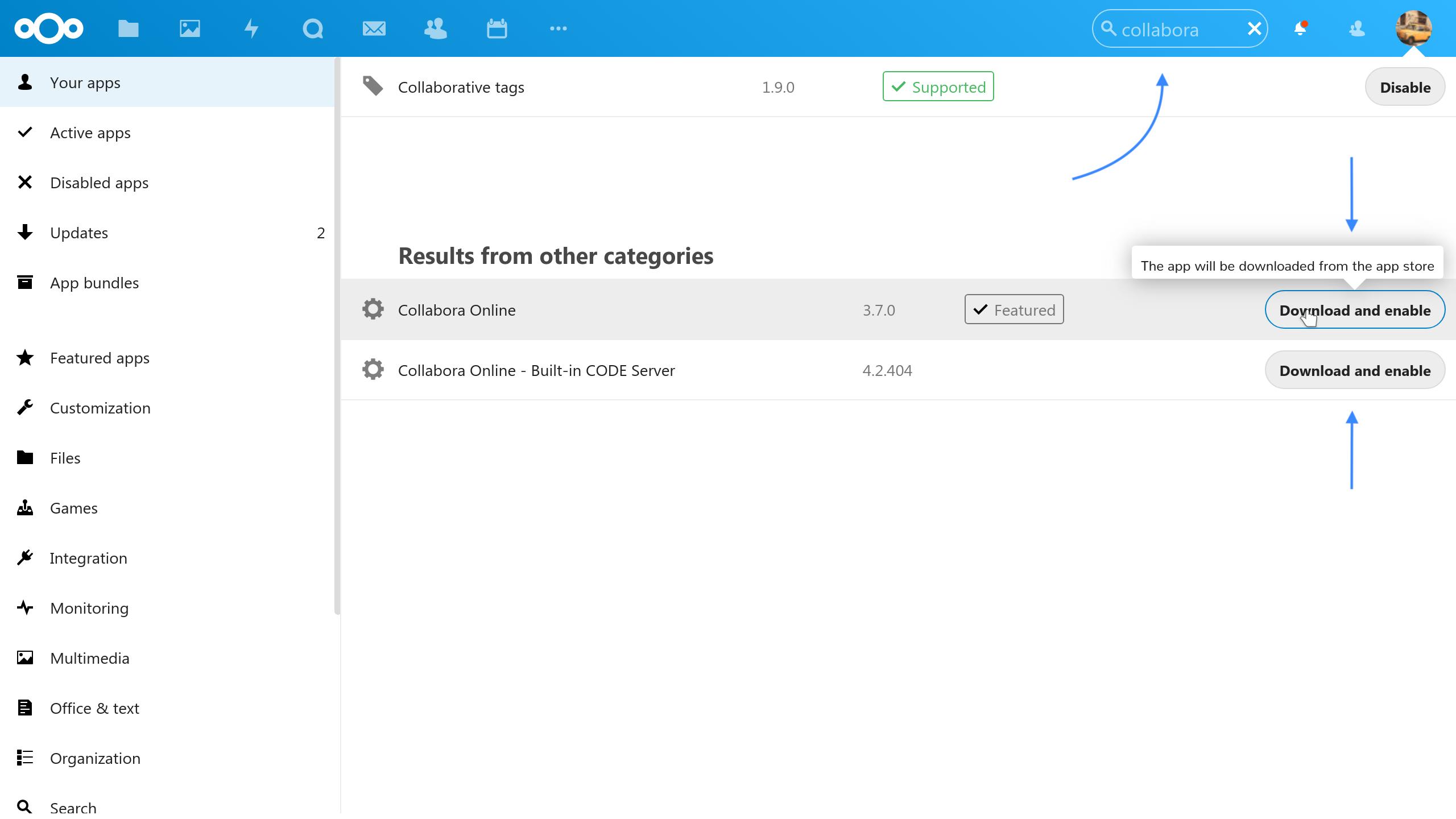 Built-in Code server Collabora screenshot