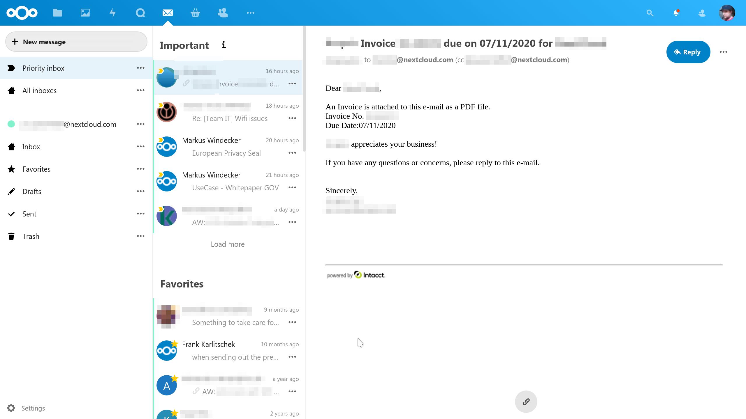 screenshot of the priority inbox