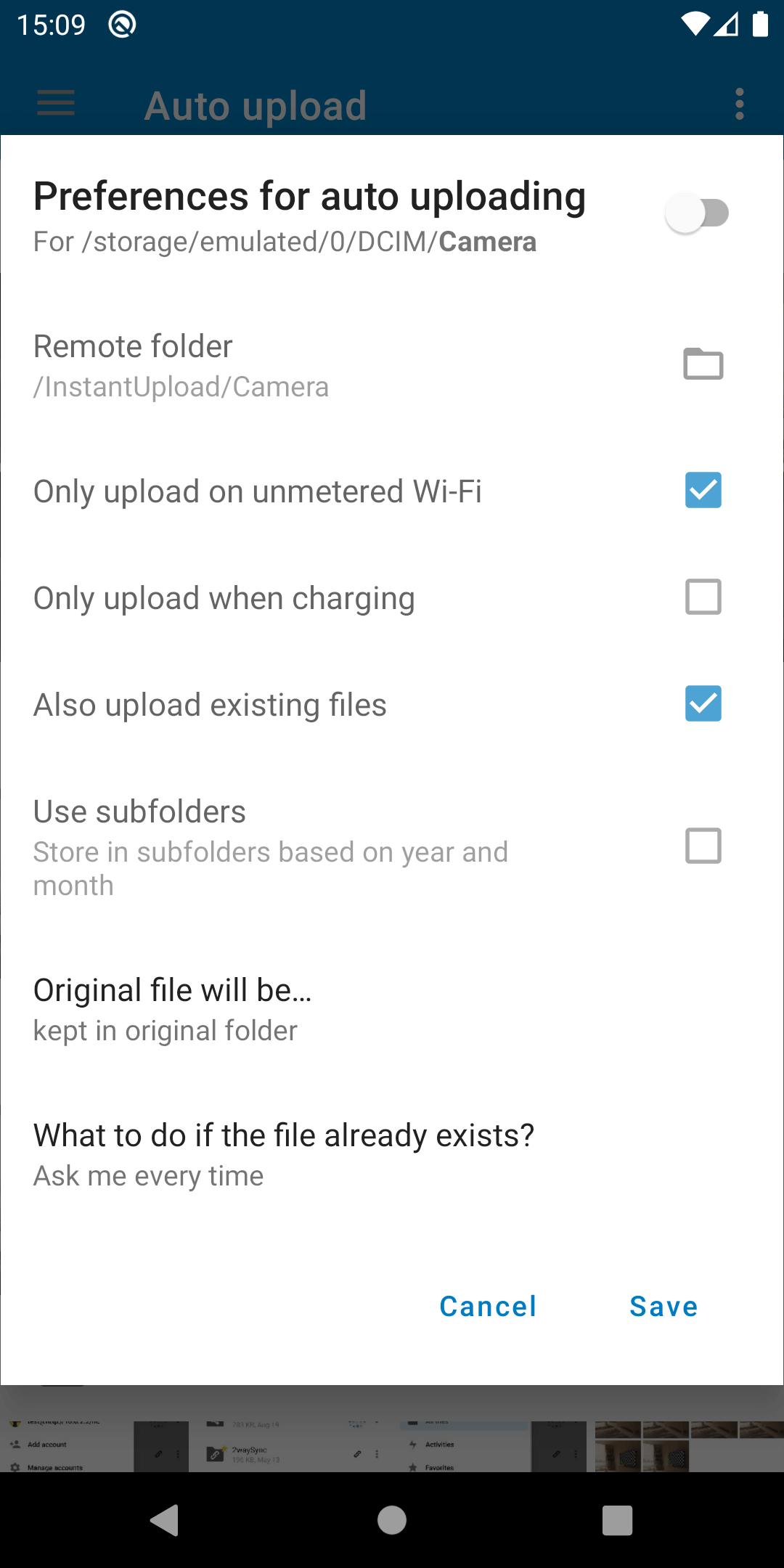 auto upload preferences