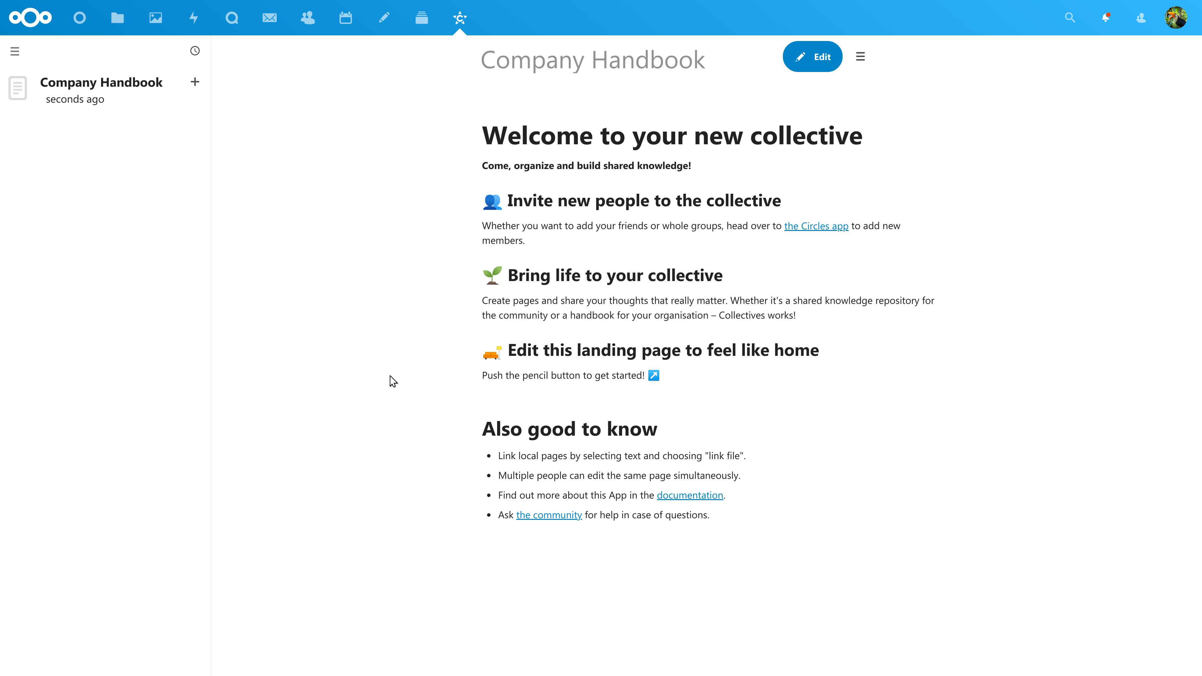 Collectives app screenshot