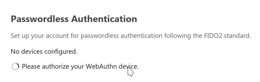 screenshot of the WebAuthn settings