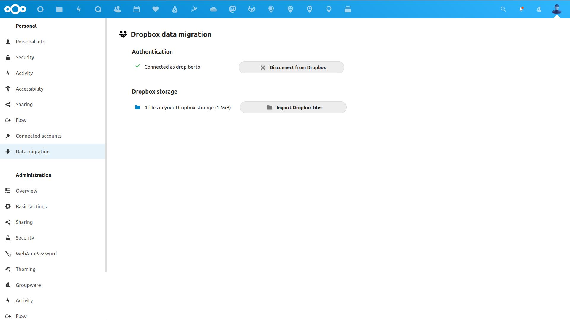 Dropbox migration settings screenshot