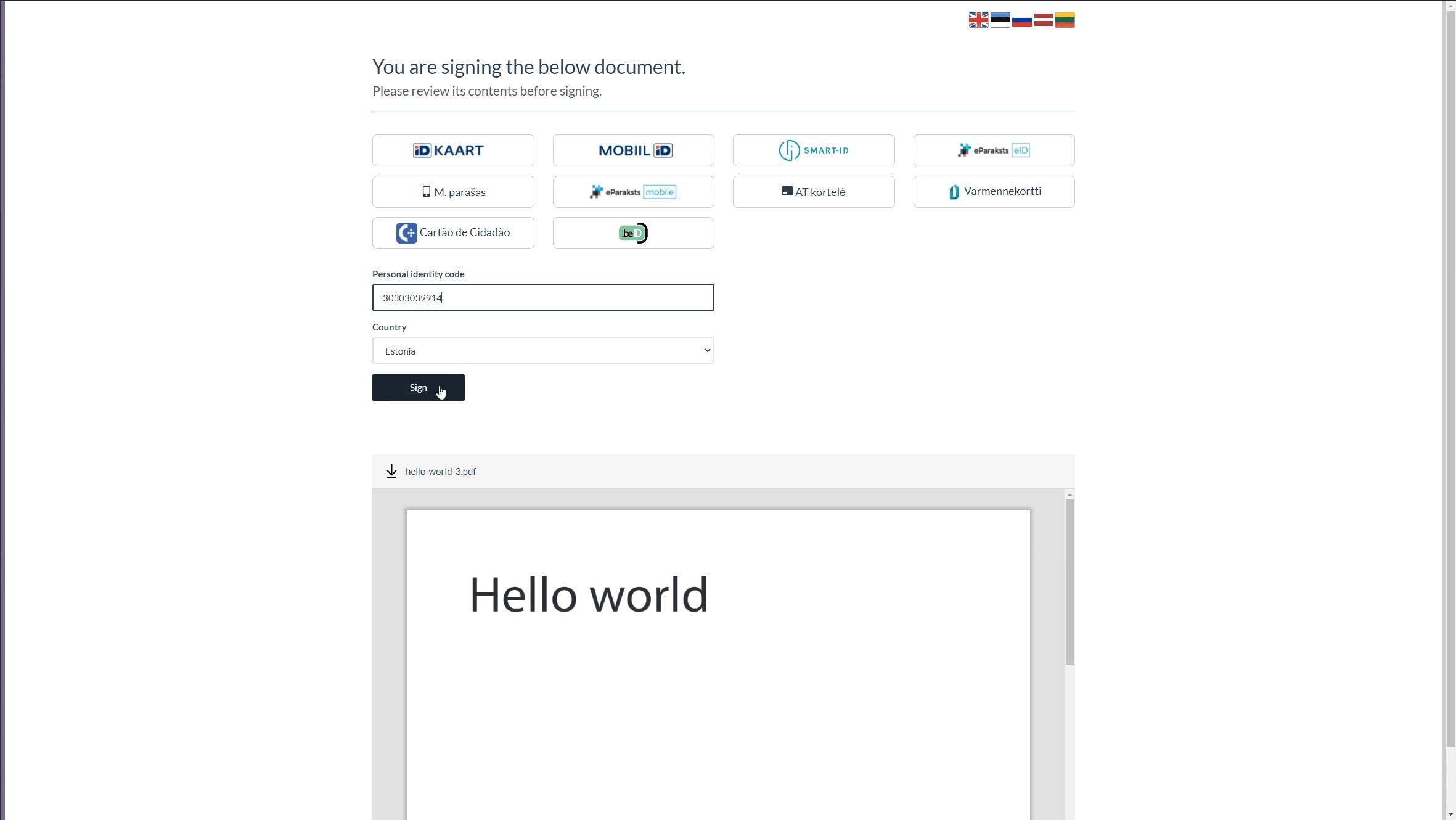 signing screenshot