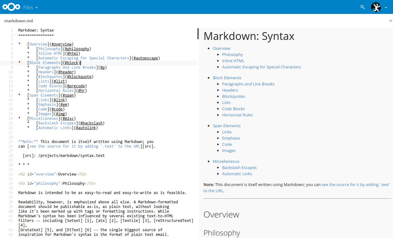 The ever expanding Markdown app – Nextcloud