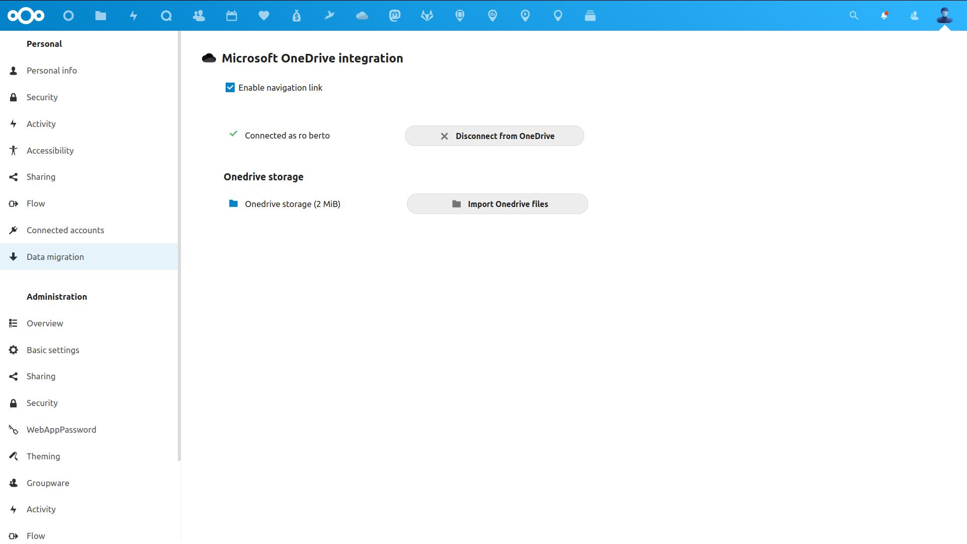 OneDrive migration settings screenshot