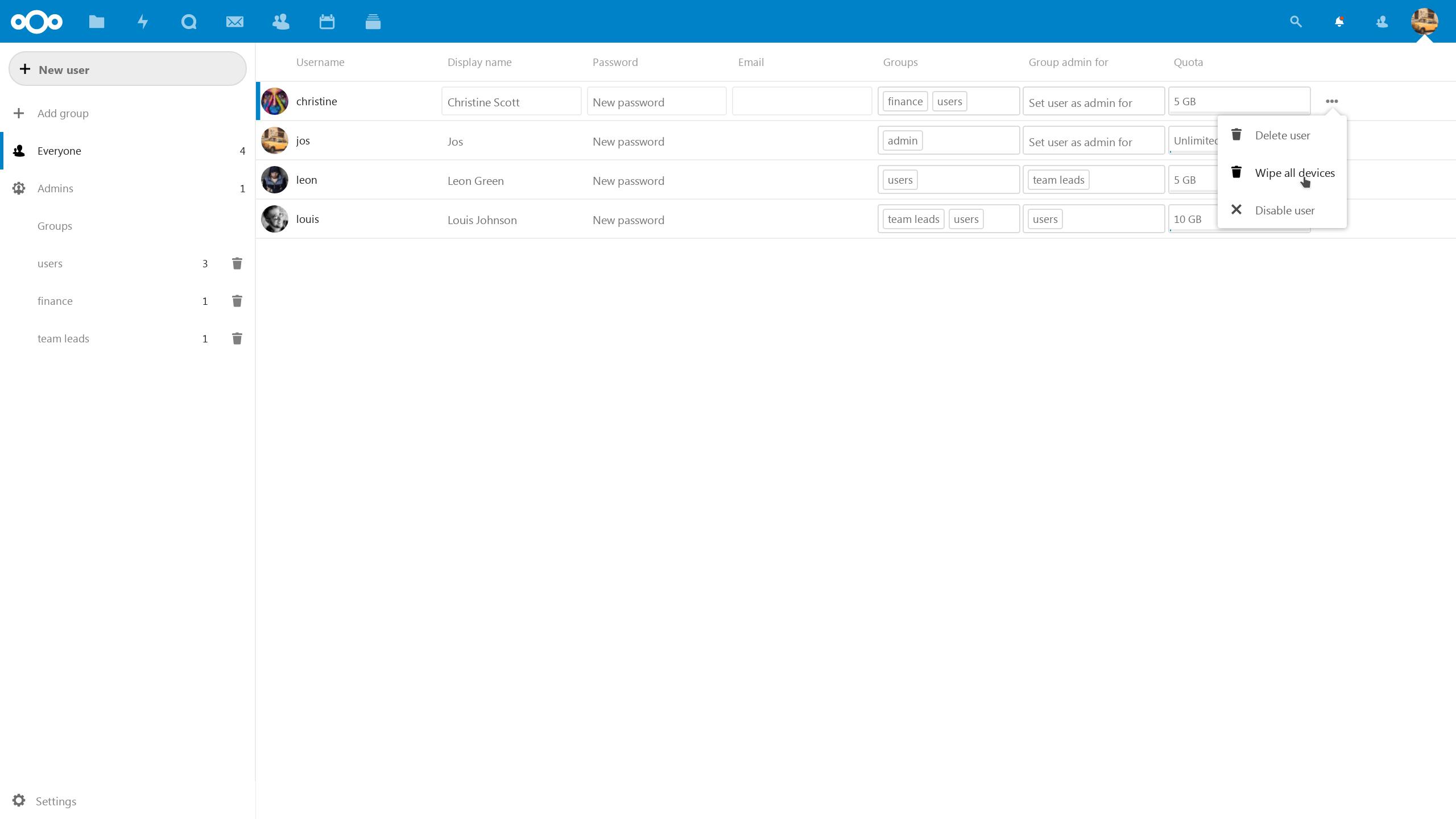 Remote wipe as admin, per user