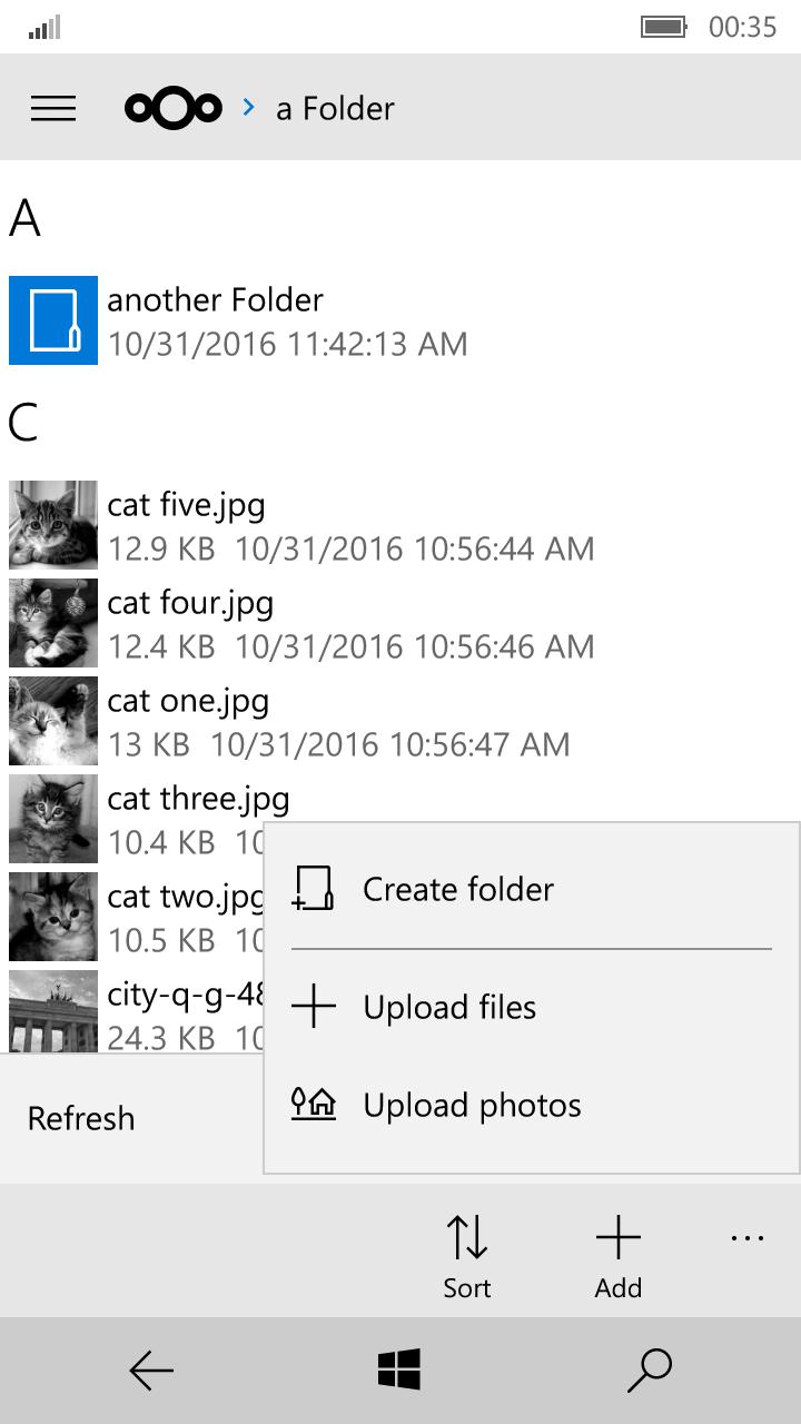 WiMo file list view