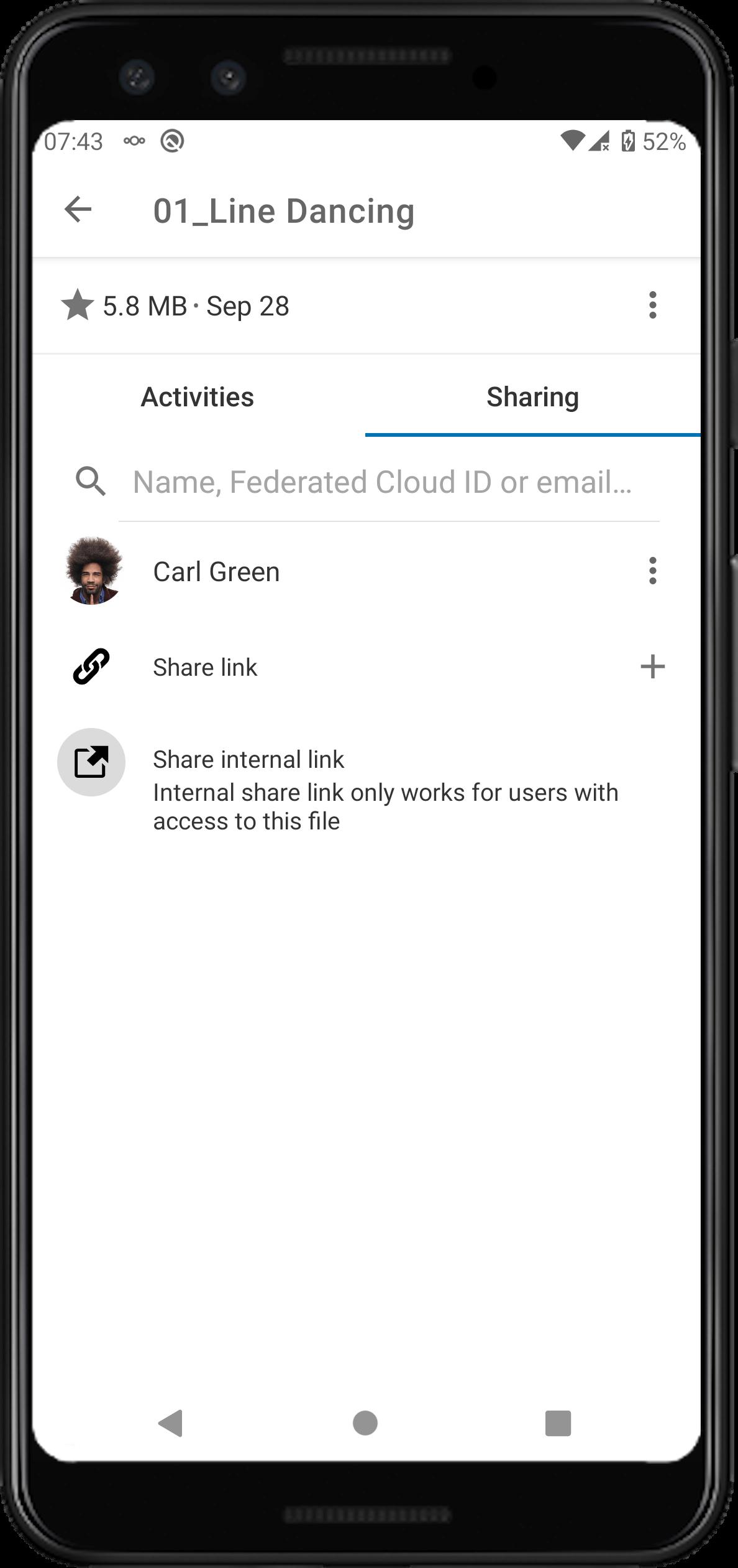improved sharing UI