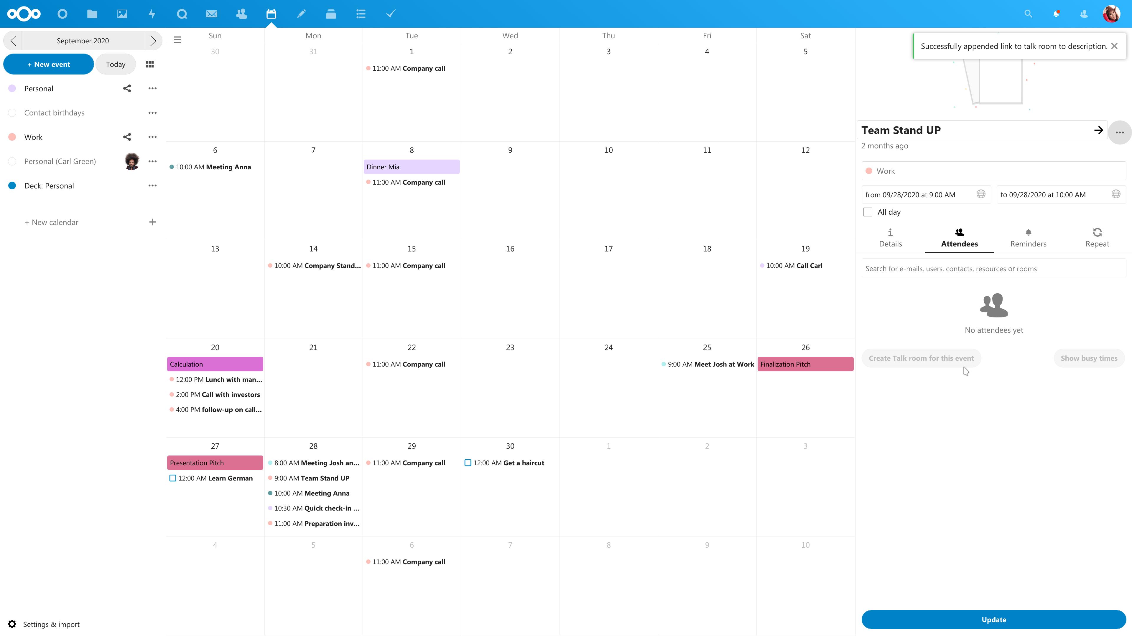 Talk integration in Calendar